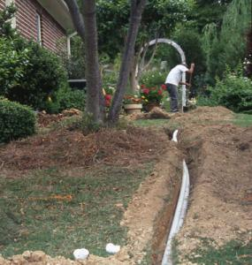 Irrigation contractor in Davie, Florida lays new pvc pipes